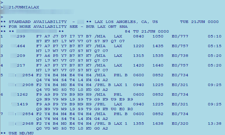 A Sabre session looking at flights from Miami, FL to Los Angeles, CA.