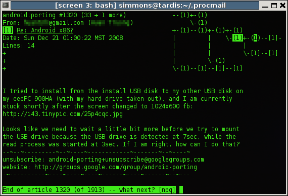 A terminal interface to Usenet. The text approximation of a map in the upper right is the message thread tree.