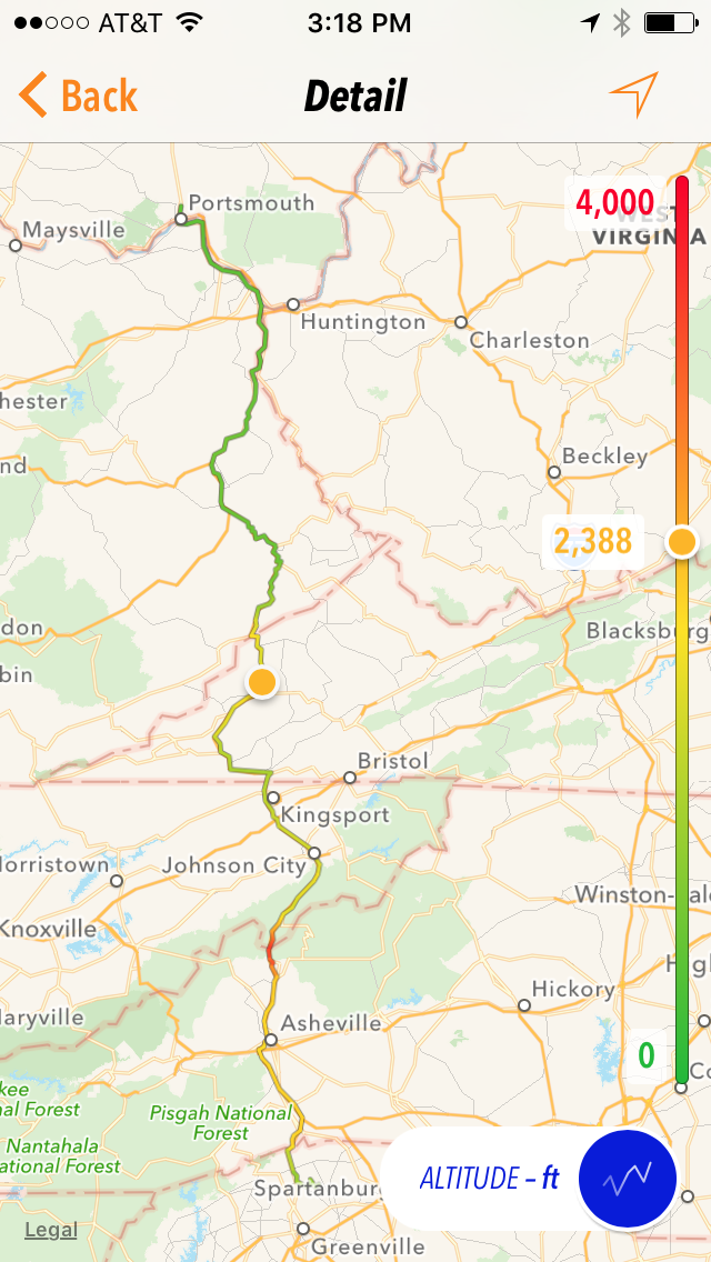 Our US23-heavy route from Portsmouth, OH to Greer, SC. Route color changes with altitude.