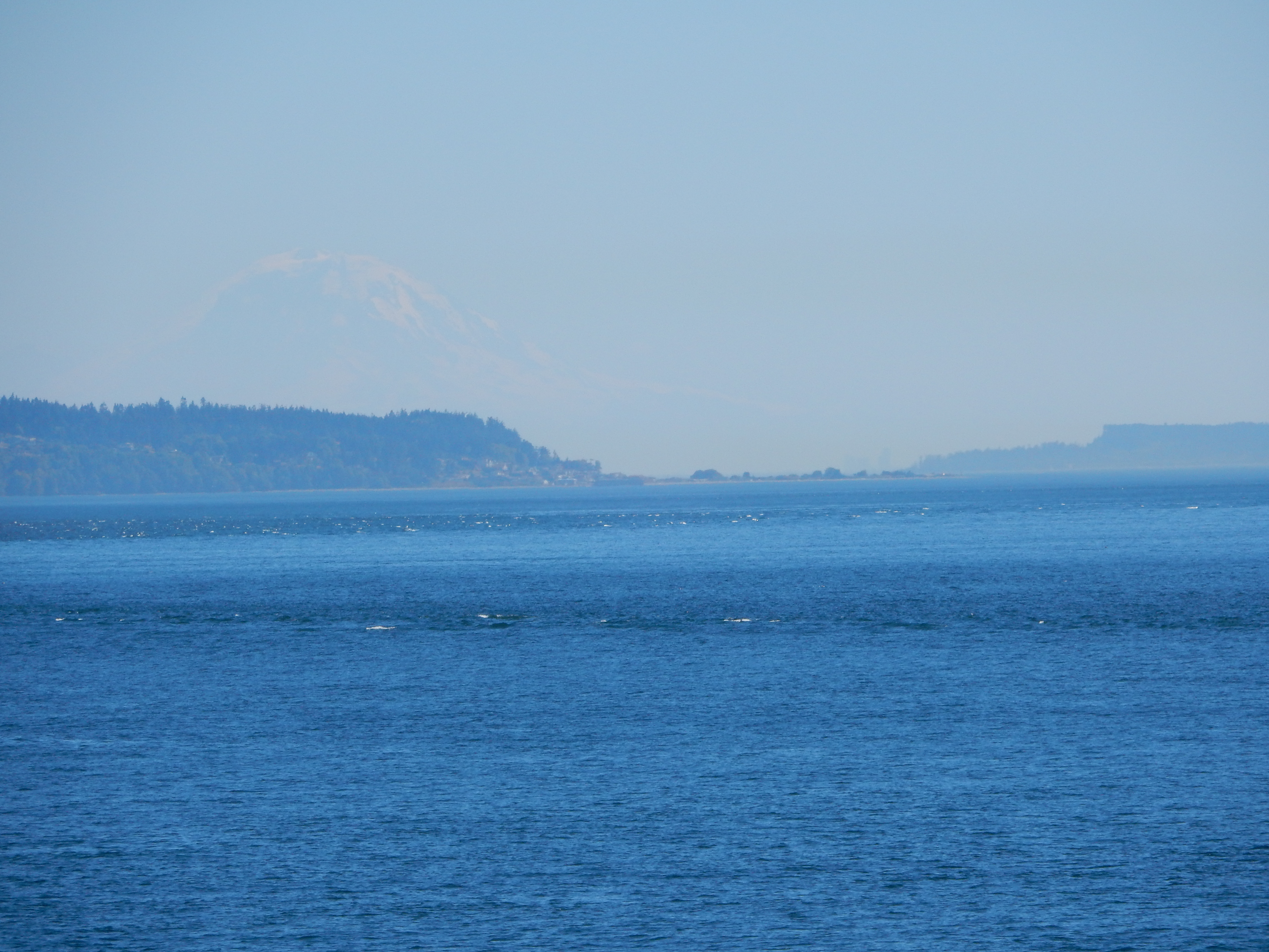 Mount Ranier hides in the haze, as viewed from the Port Townsend ferry.