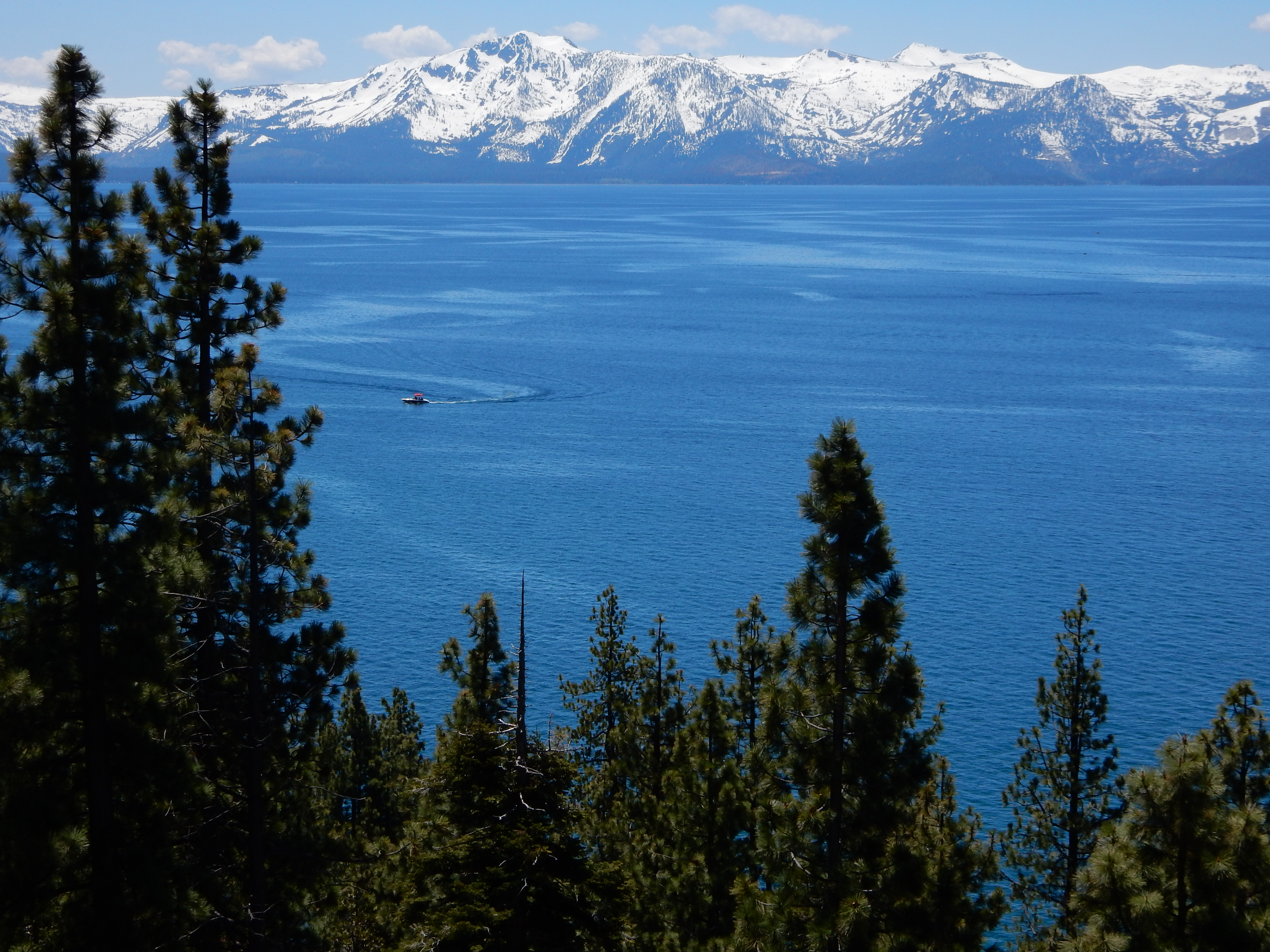 A few of a boat cruising around Lake Tahoe.
