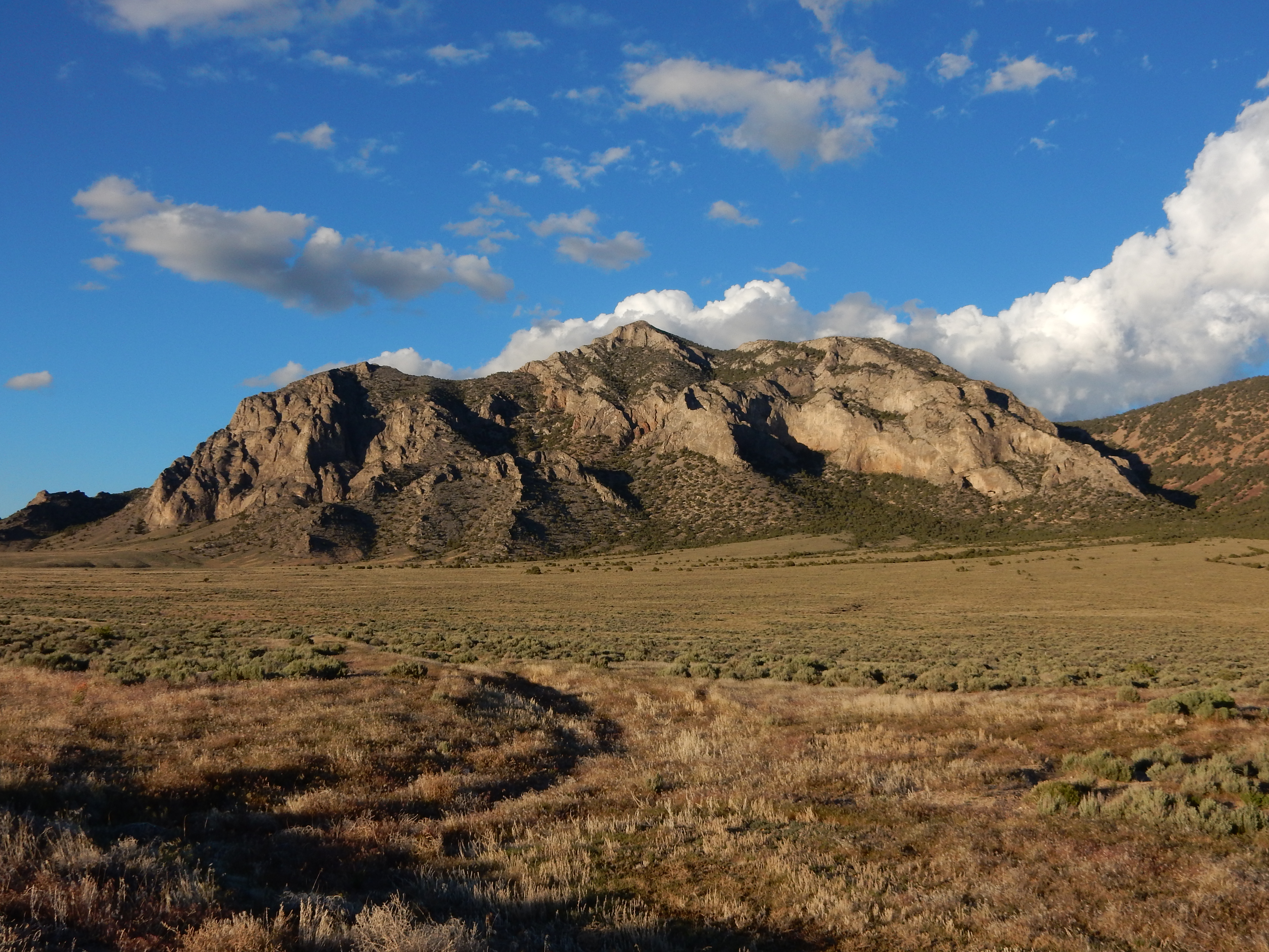 A mountain in the northern part of Great Basin National Park catching the last rays of the setting sun.