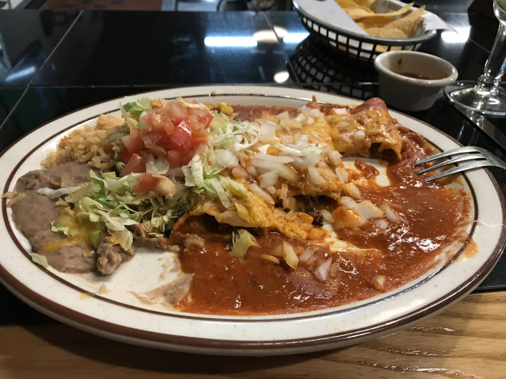 Steak, not beef, enchiladas.
