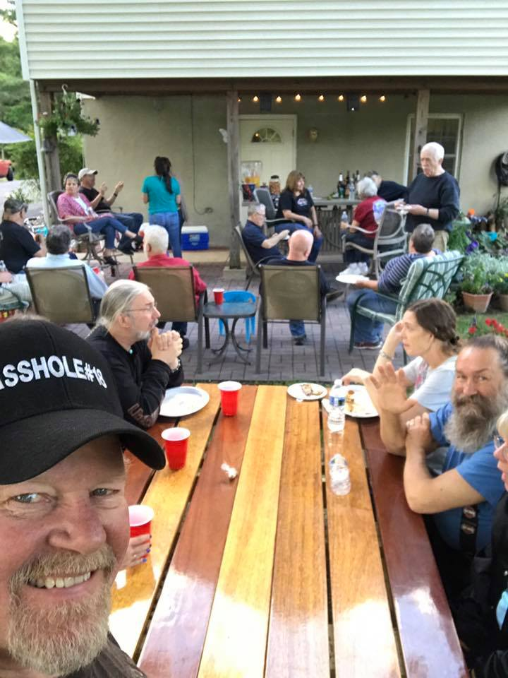 The Fire Nazi takes a selfie during Friday night dinner.