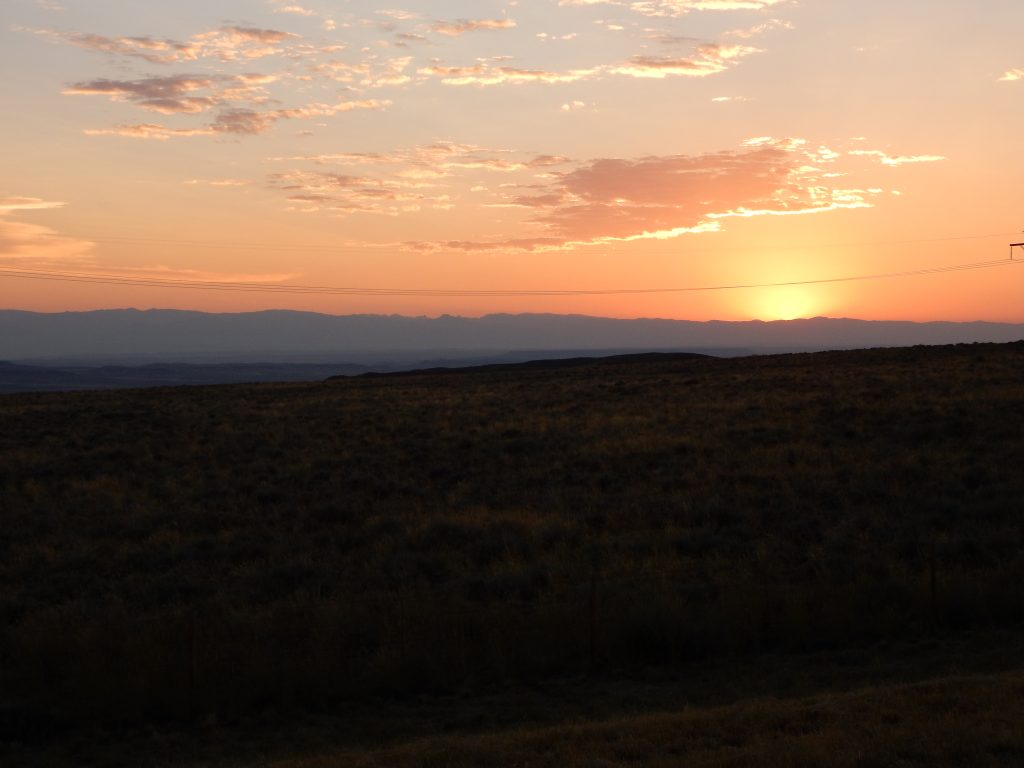 The sun sets over the Wind River Range as I pull in to Riverton, WY.