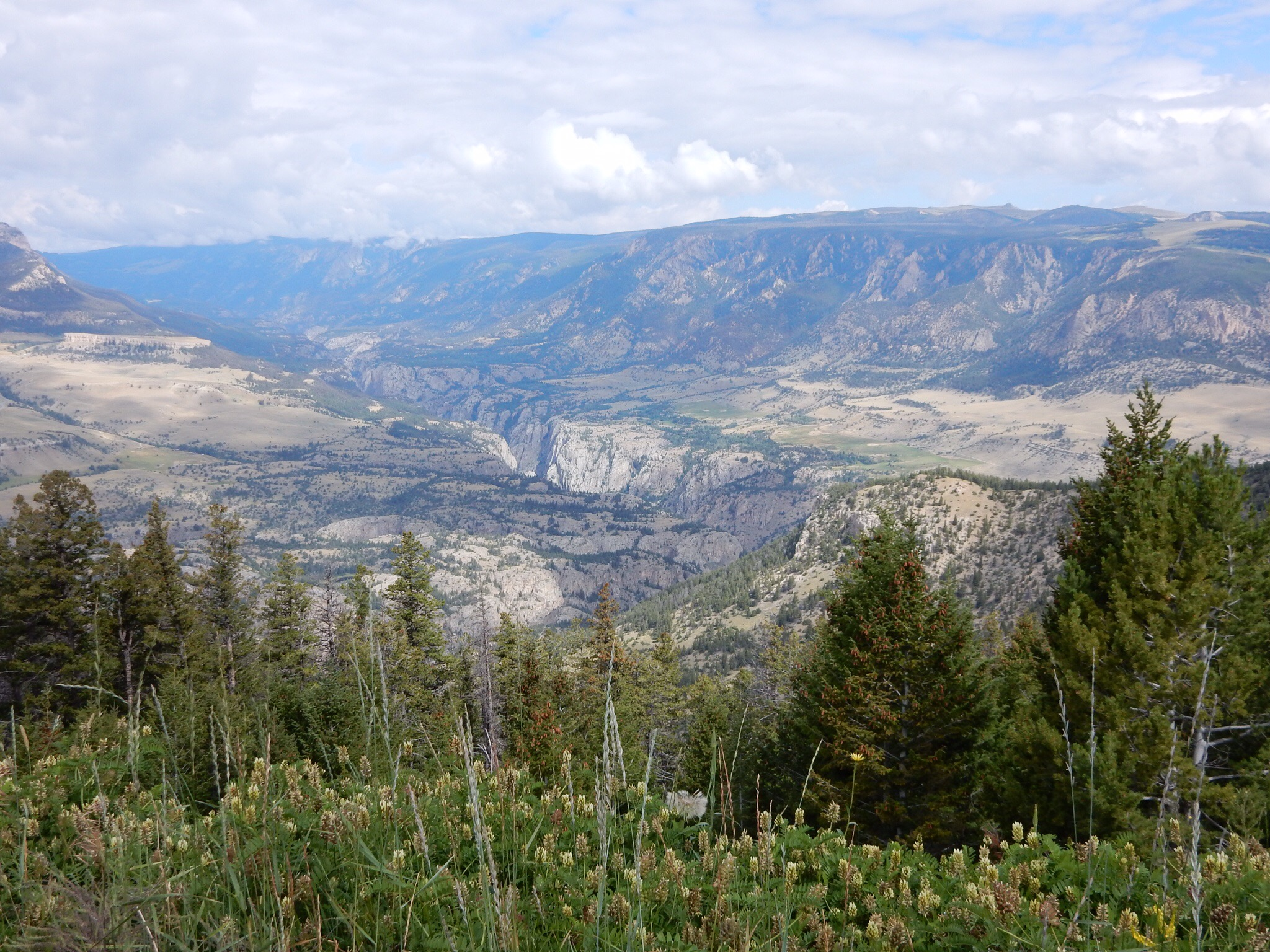 The gorge in the valley below is for the Clark Fork of the Yellowstone River. V