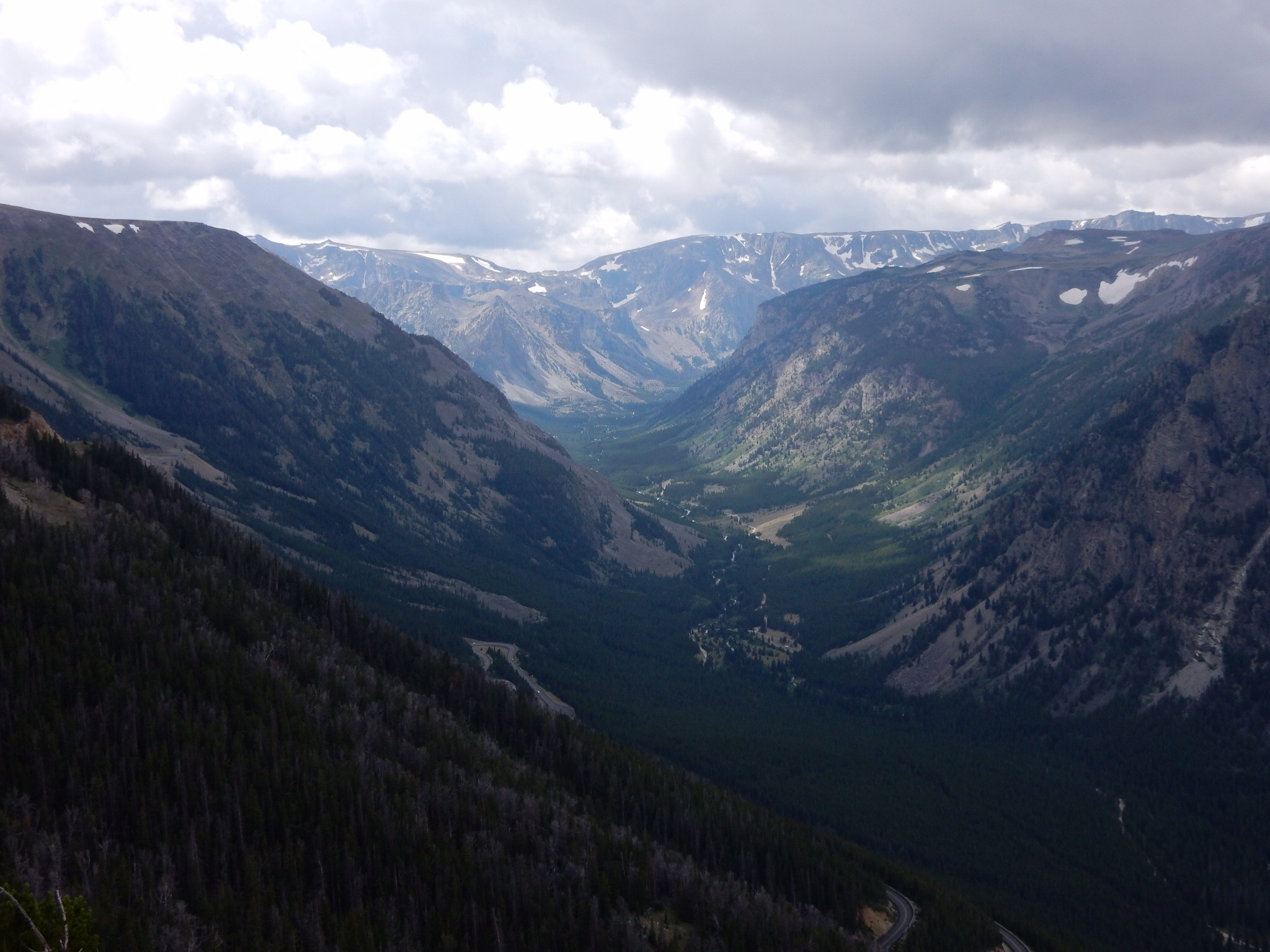 A view up a valley along the road up Beartooth Pass.V