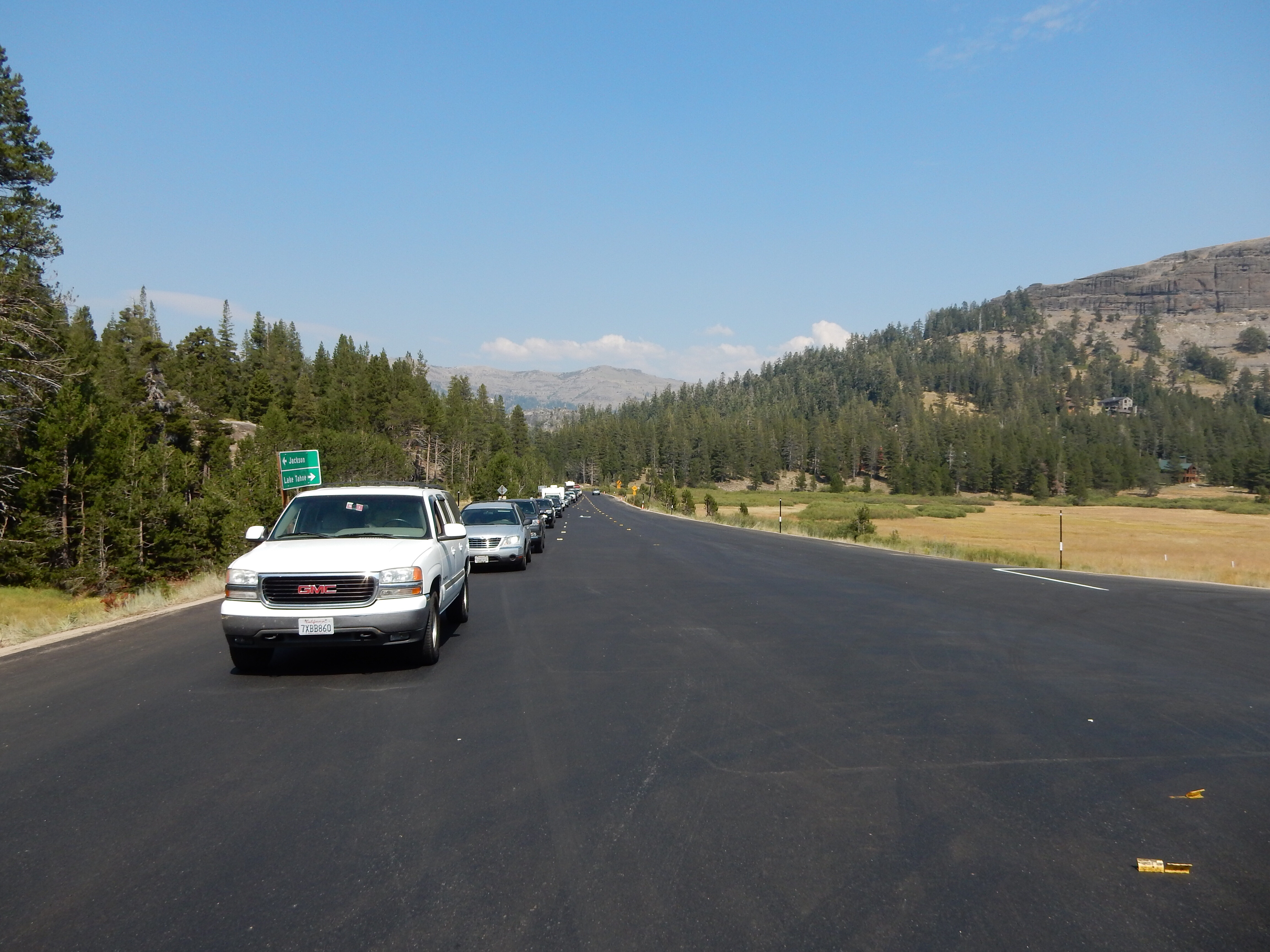 Waiting for a pilot car to guide us through an area of single-lane traffic on CA88 near Carson Pass.