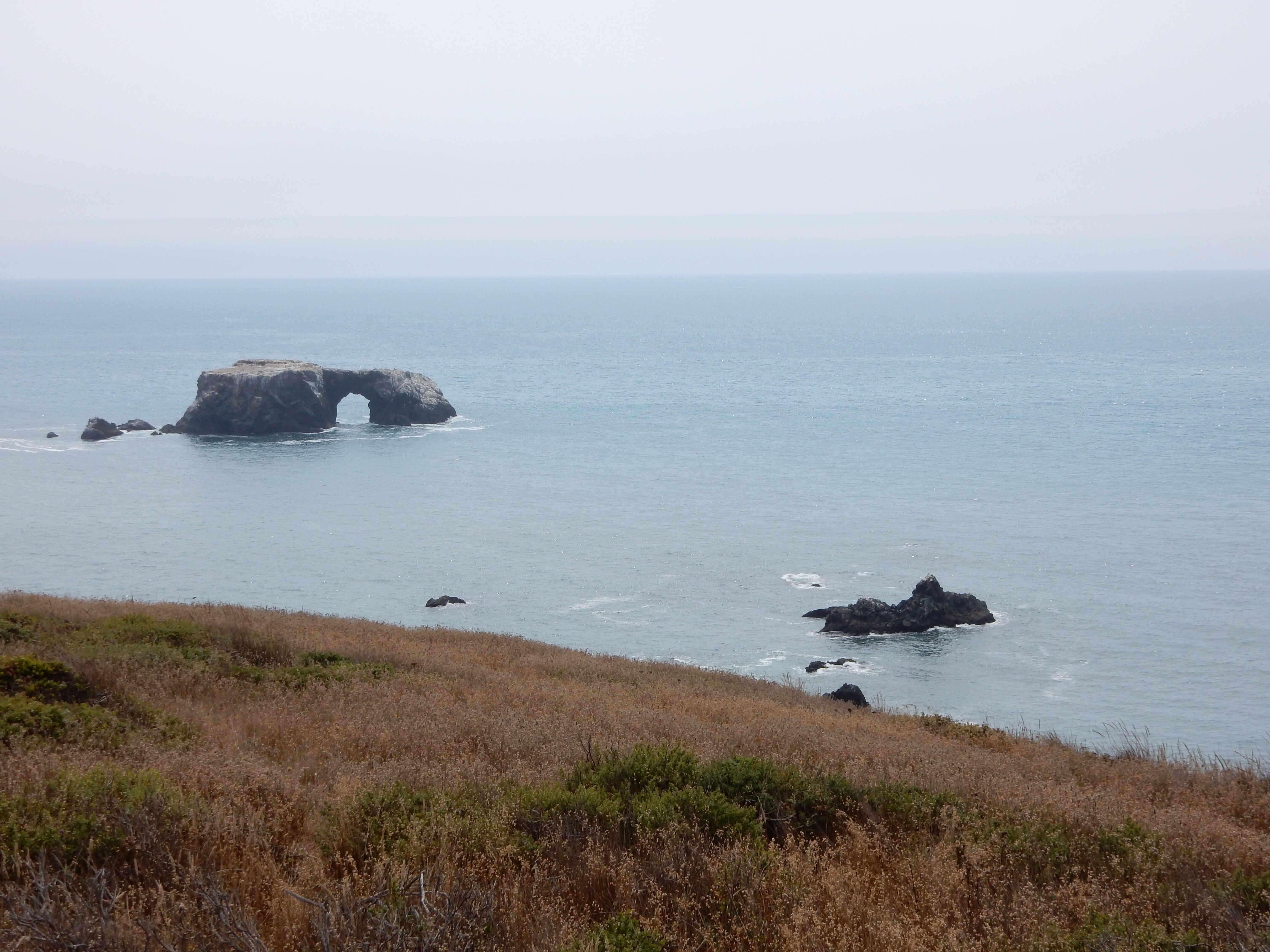 A natural arch offshore at Goat Rock Beach.