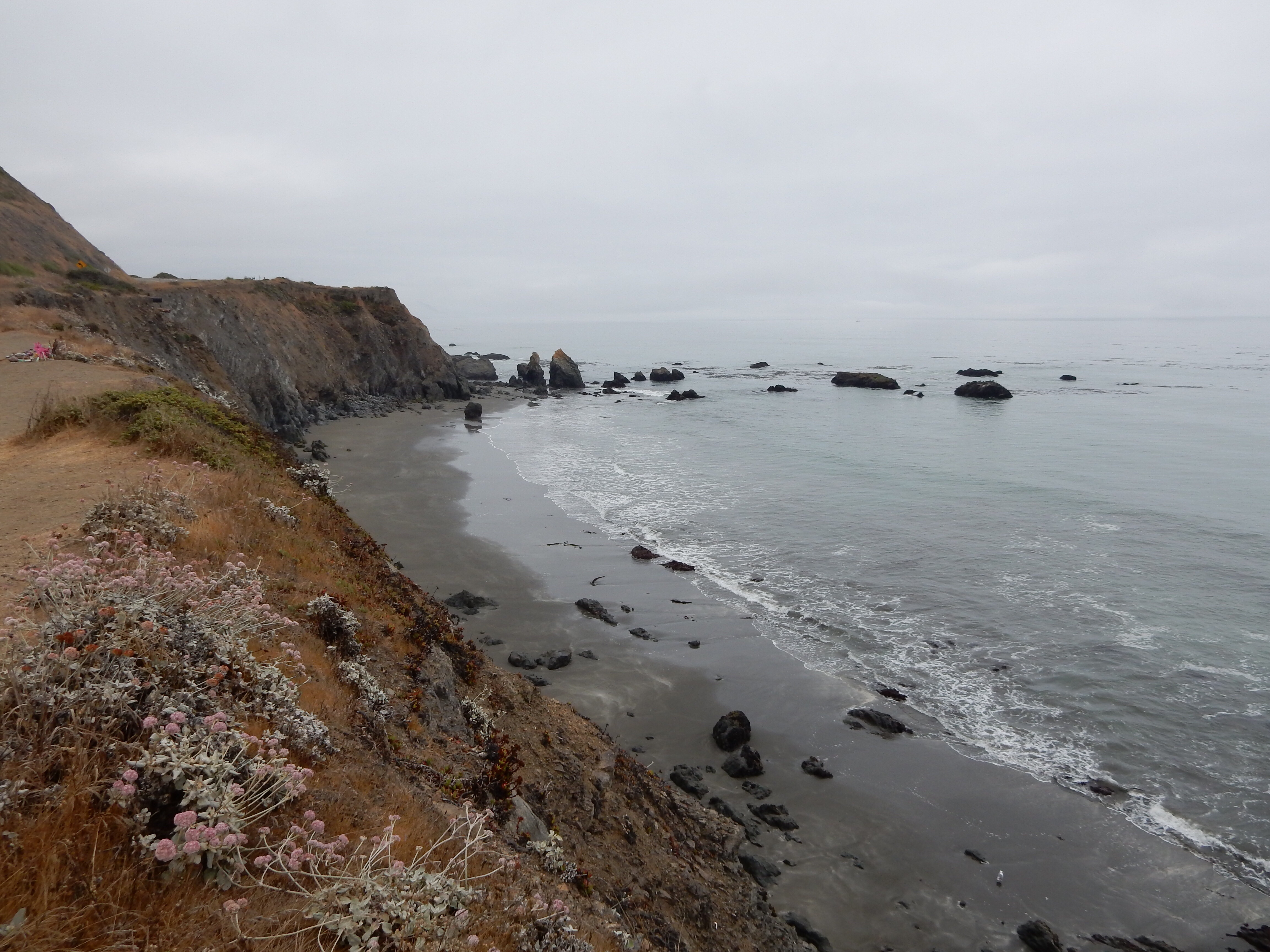 A view south from where California Highway 1 heads inland and leaves the coast behind.