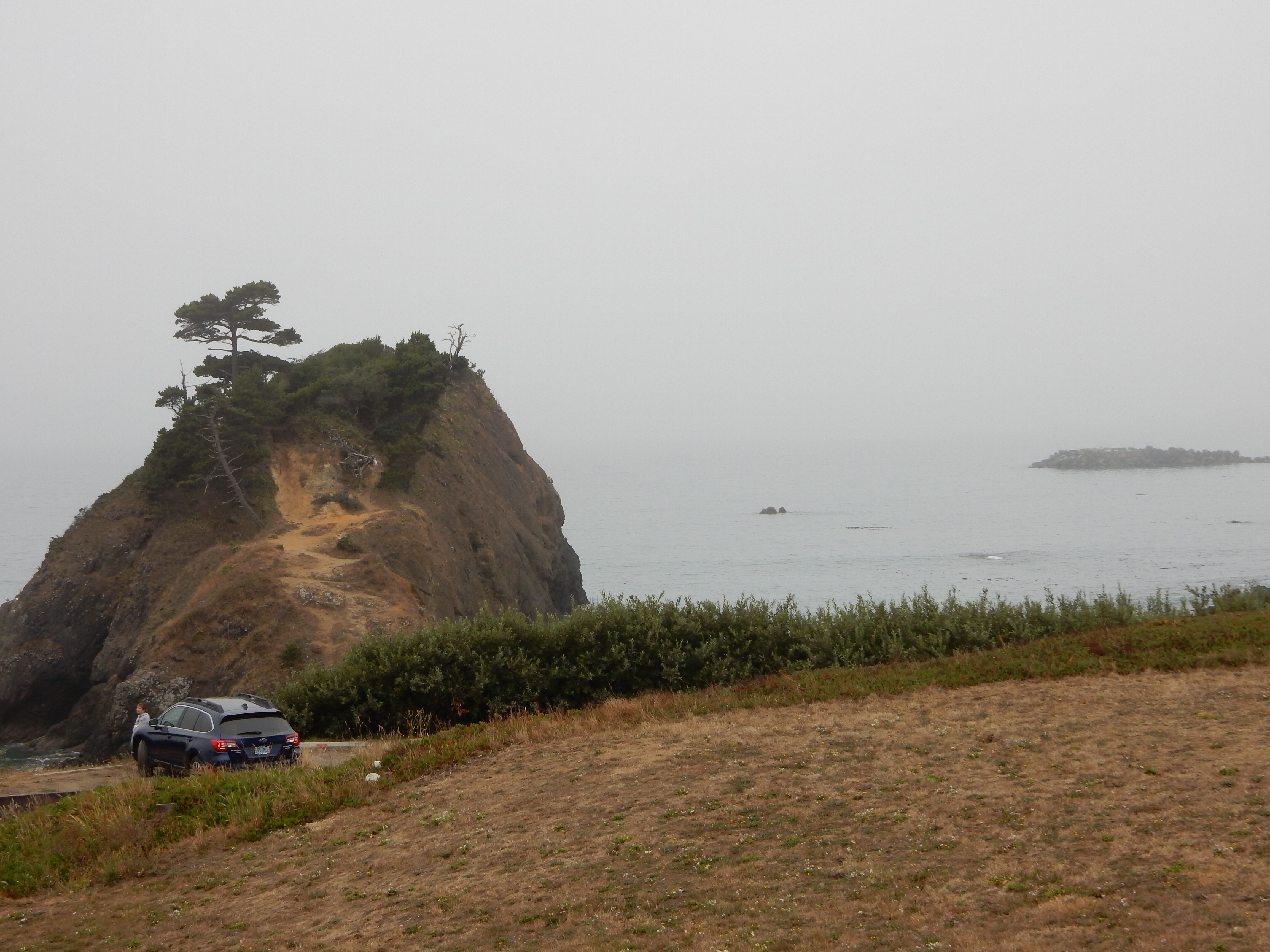 A view of Battle Rock from the overlook at Port Orford.