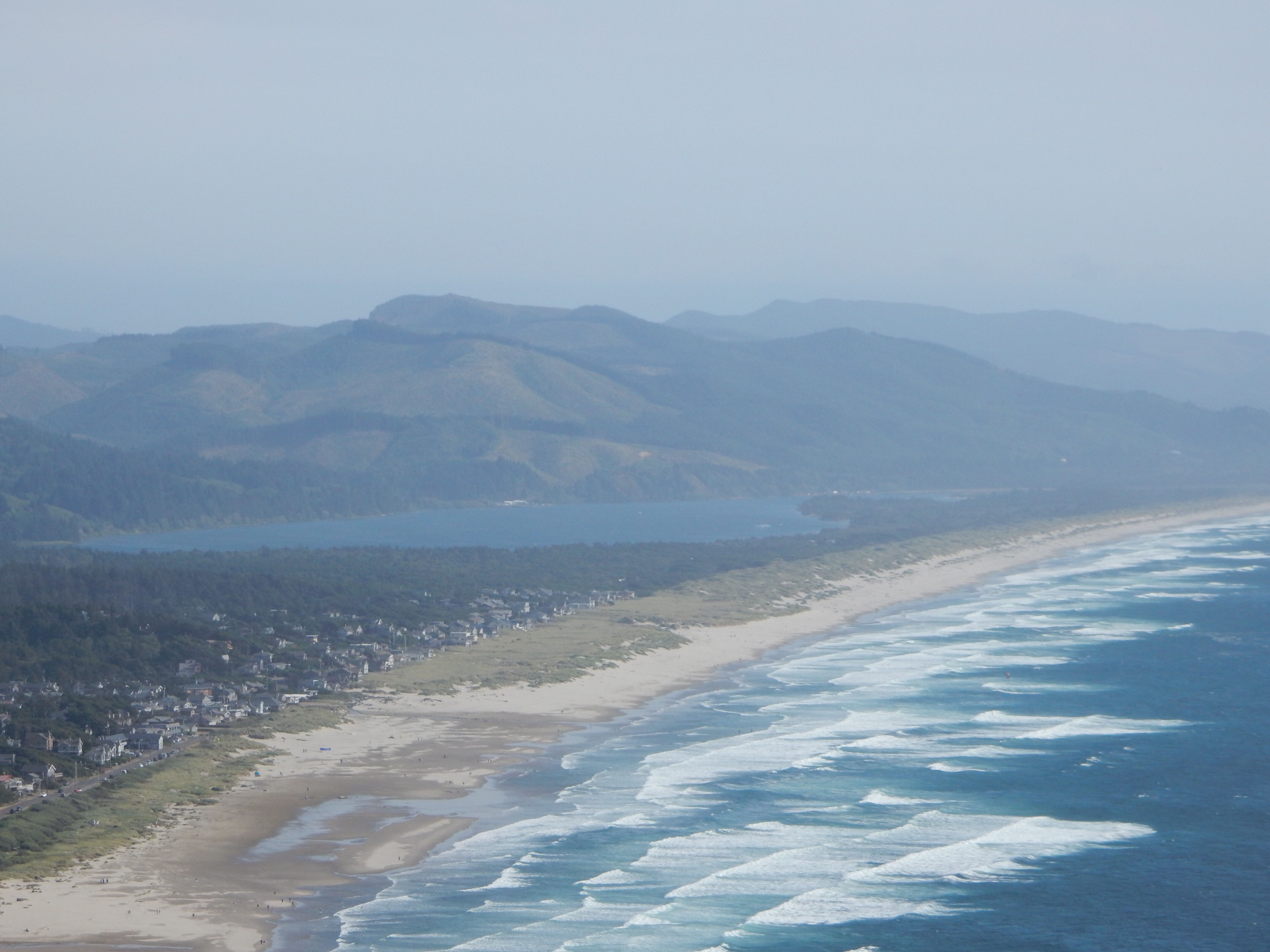 A view of the mouth of the Nehalem River from the south end of Oswald West State Park.