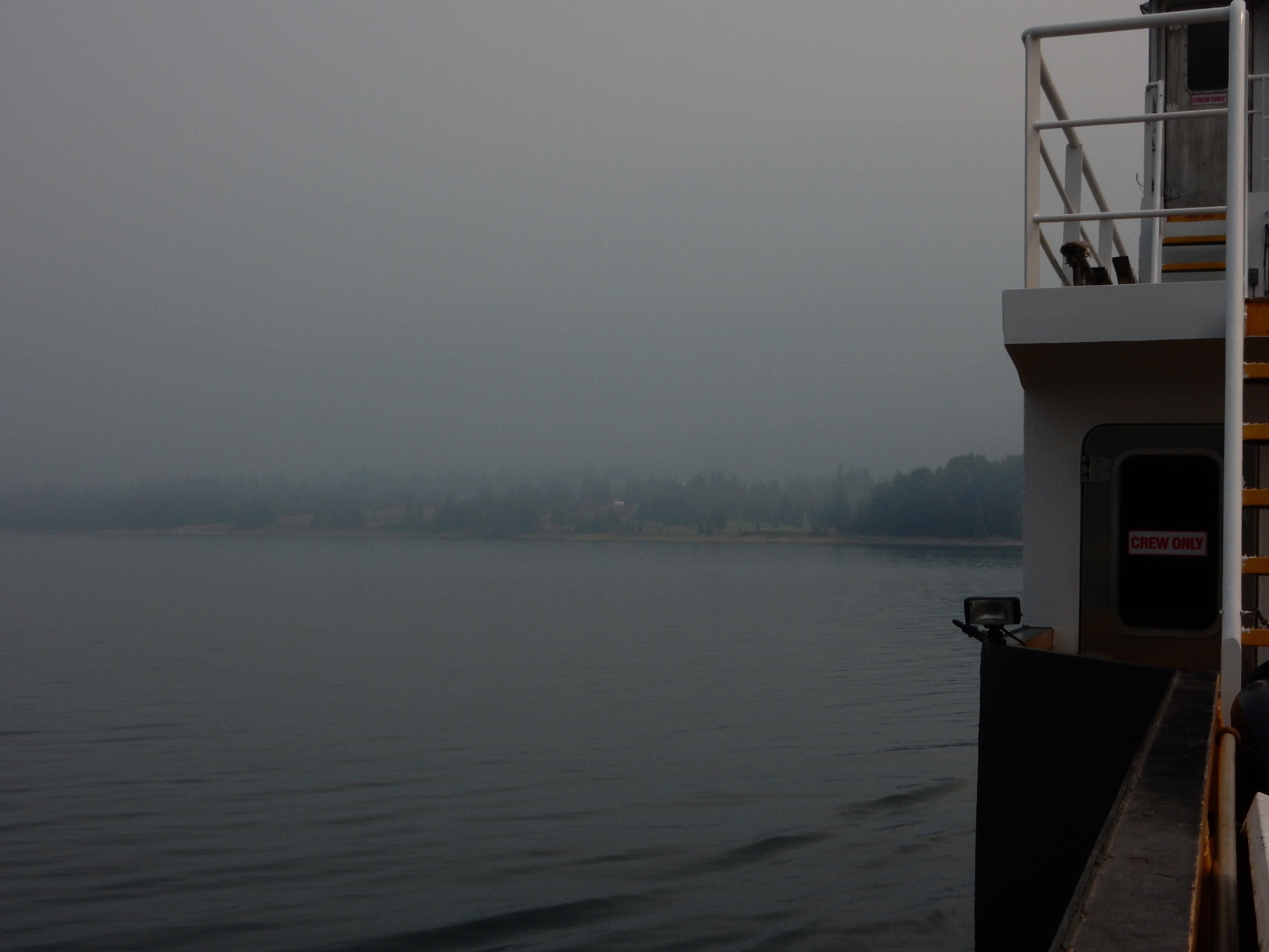 Looking east from the Needles ferry towards Fauquier, BC. That's not fog, it's smoke from all the wildfires.