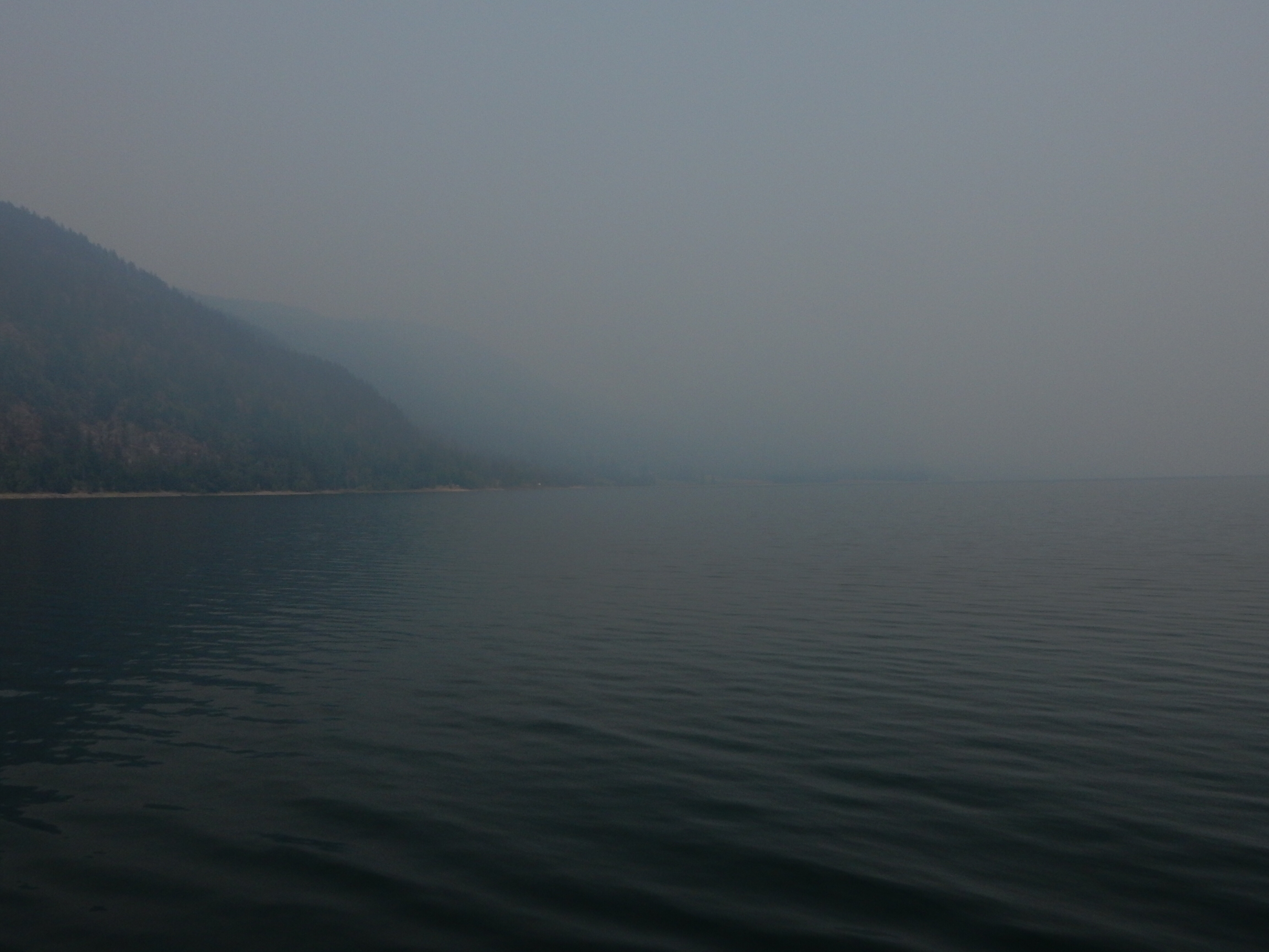 Trying to look through the wildfire smoke north of the Needles ferry.