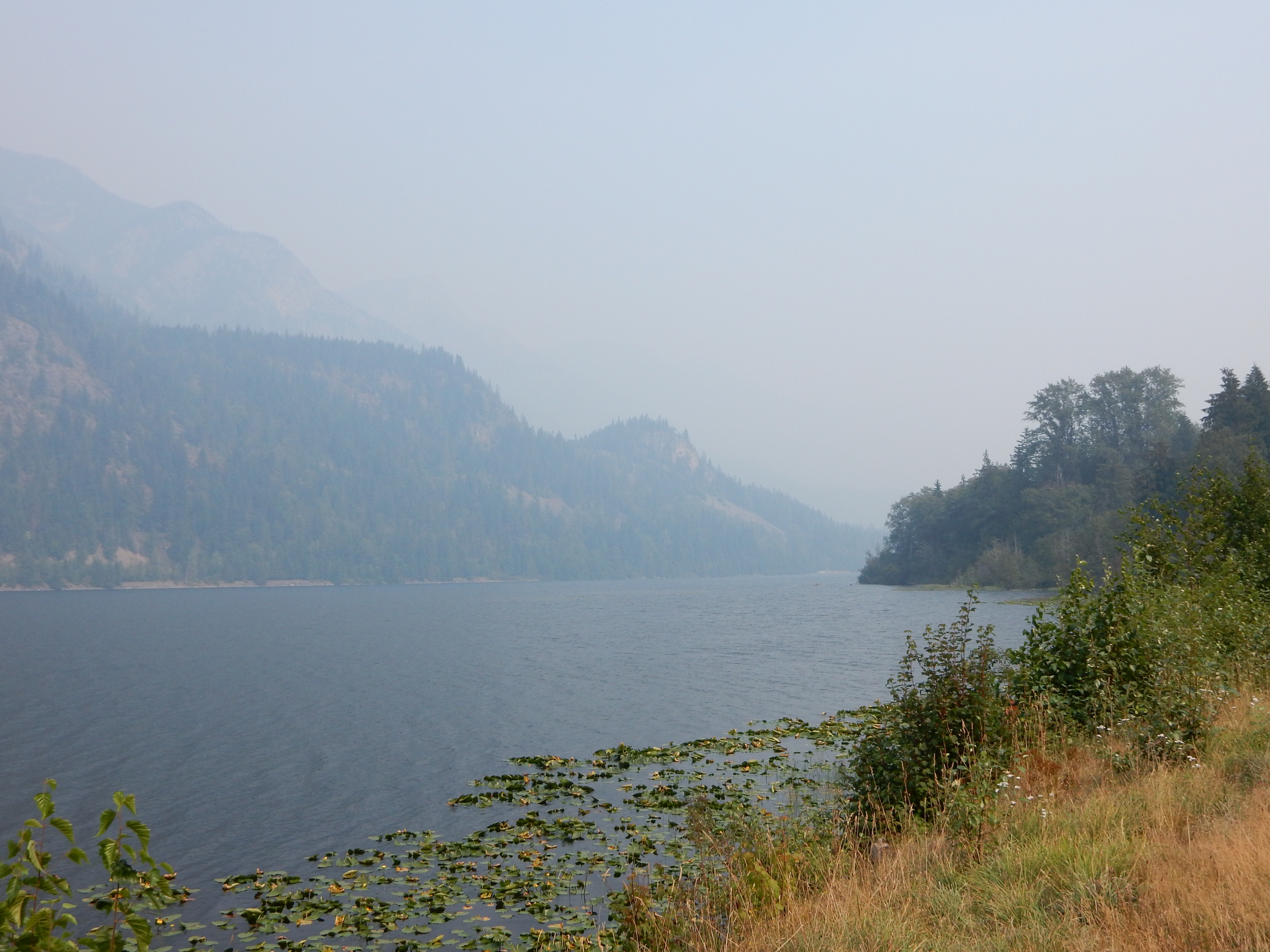 The smoke isn't quite as bad over Summit Lake north of BC6.