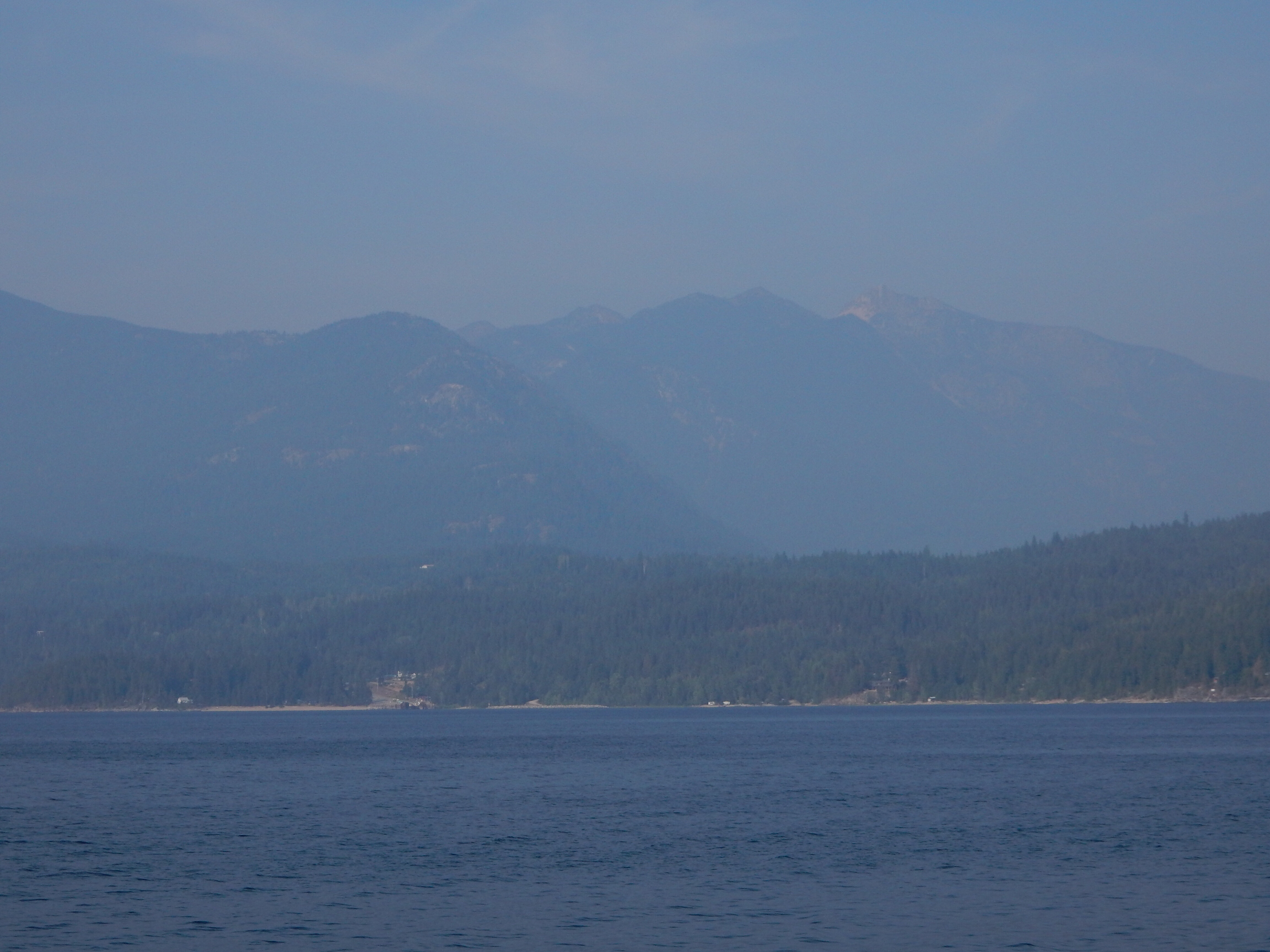 Looking east from the Balfour ferry across Lake Kootenay.