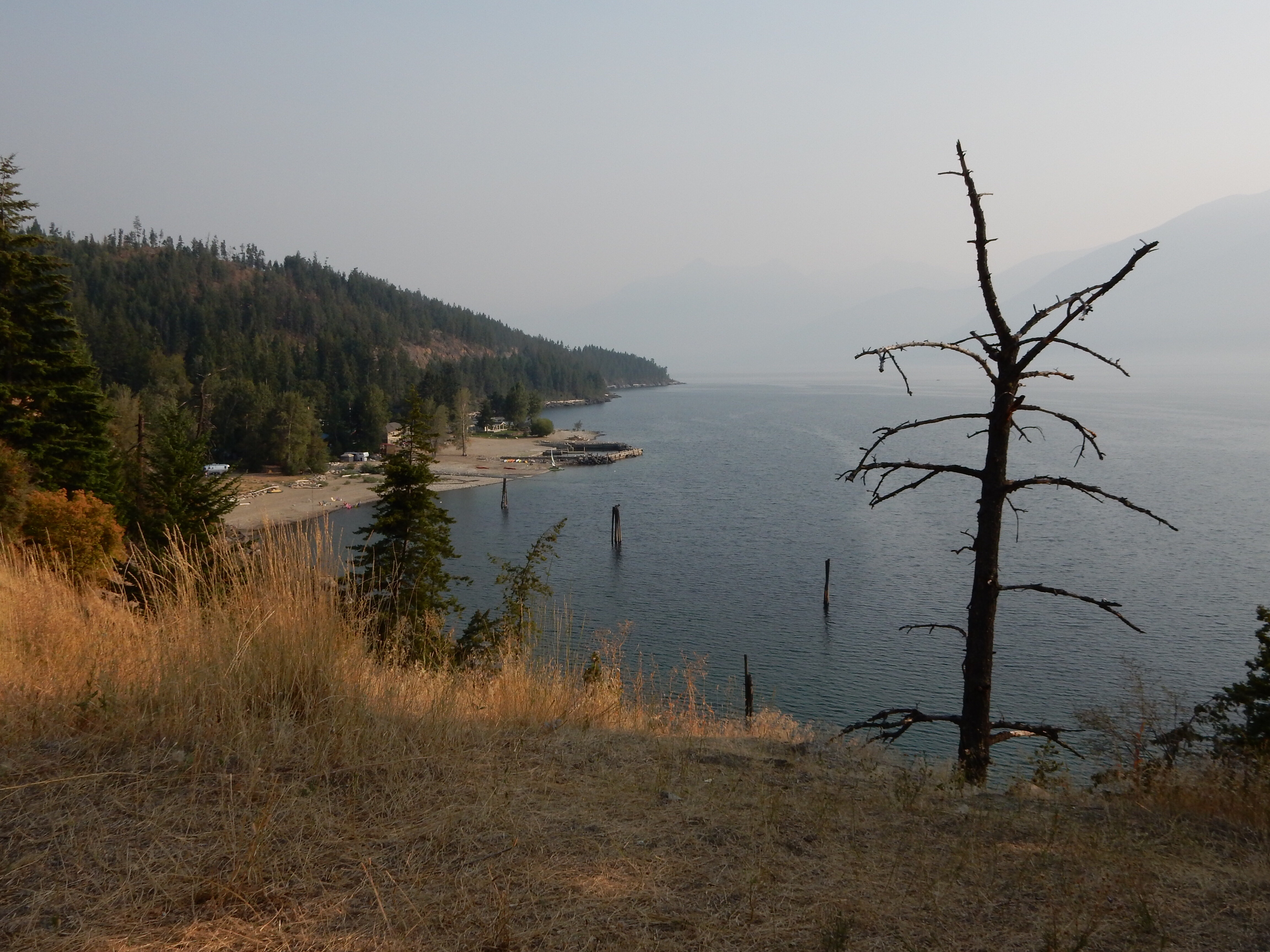 A overlook of Lake Kootenay, looking south, along highway 3A north of Creston.