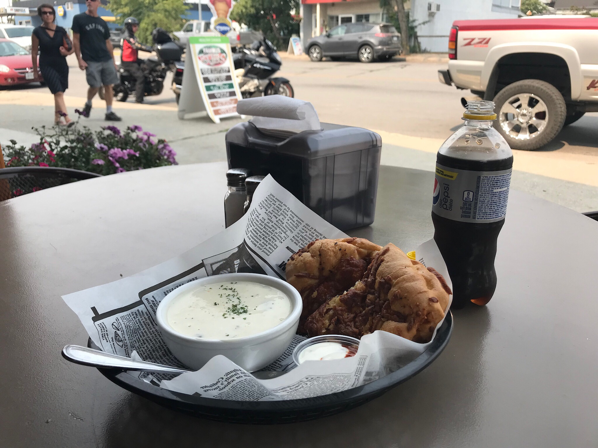 Cream of mushroom soup and a chicken/cheese Stromboli at Hoss 'n' Jess' Bistro in Nakusp, BC.