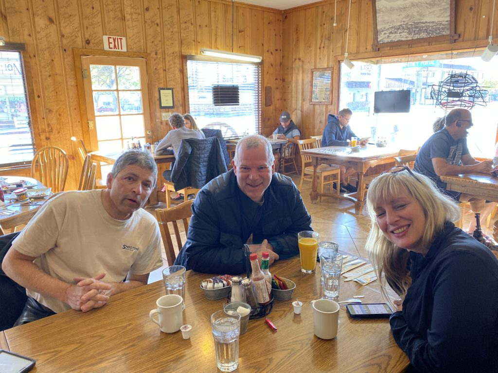 Pete, Tud, and Ange at breakfast in Lone Pine, CA.