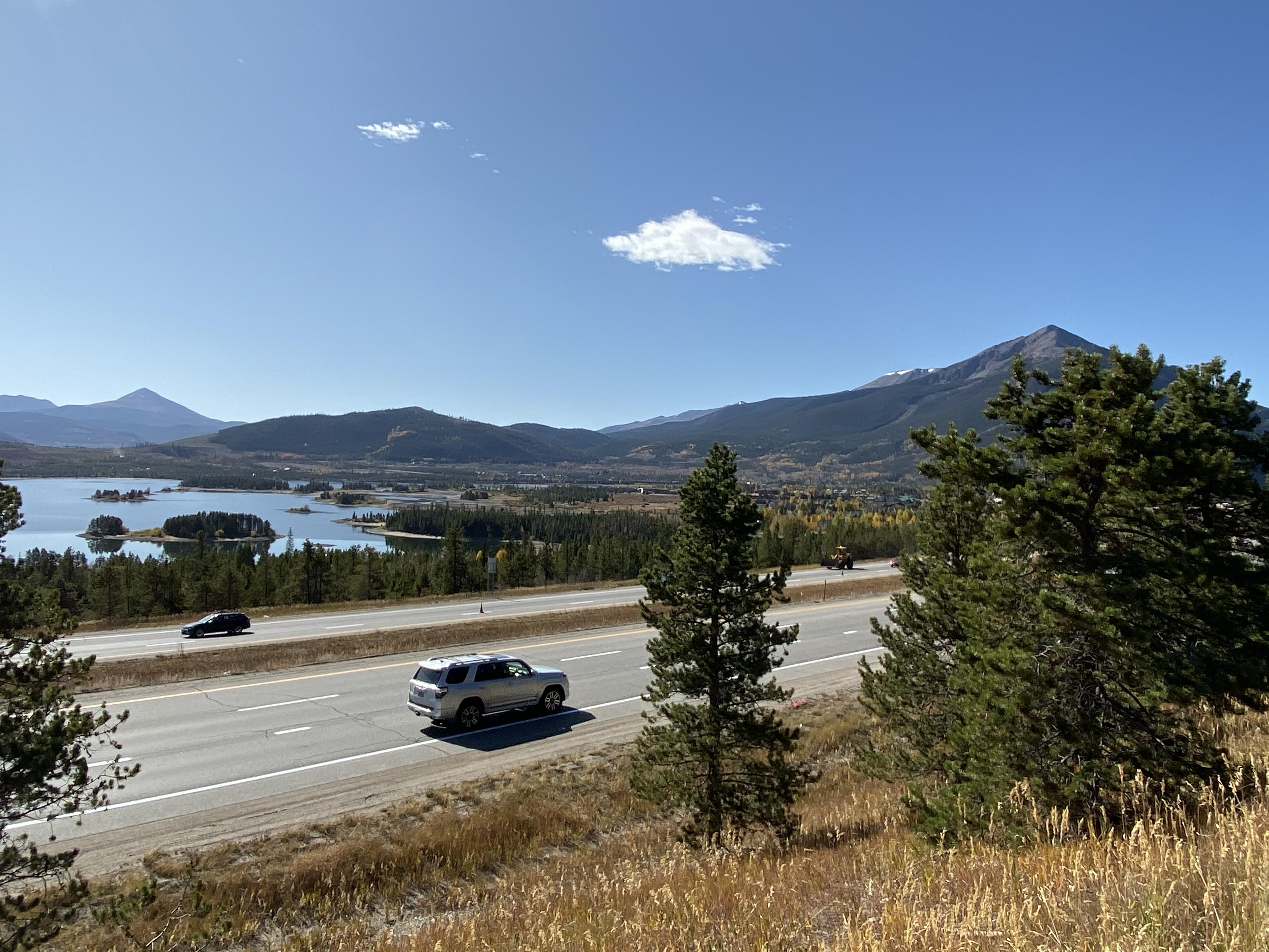 A view across the Dillon Reservoir towards Frisco, Colorado.