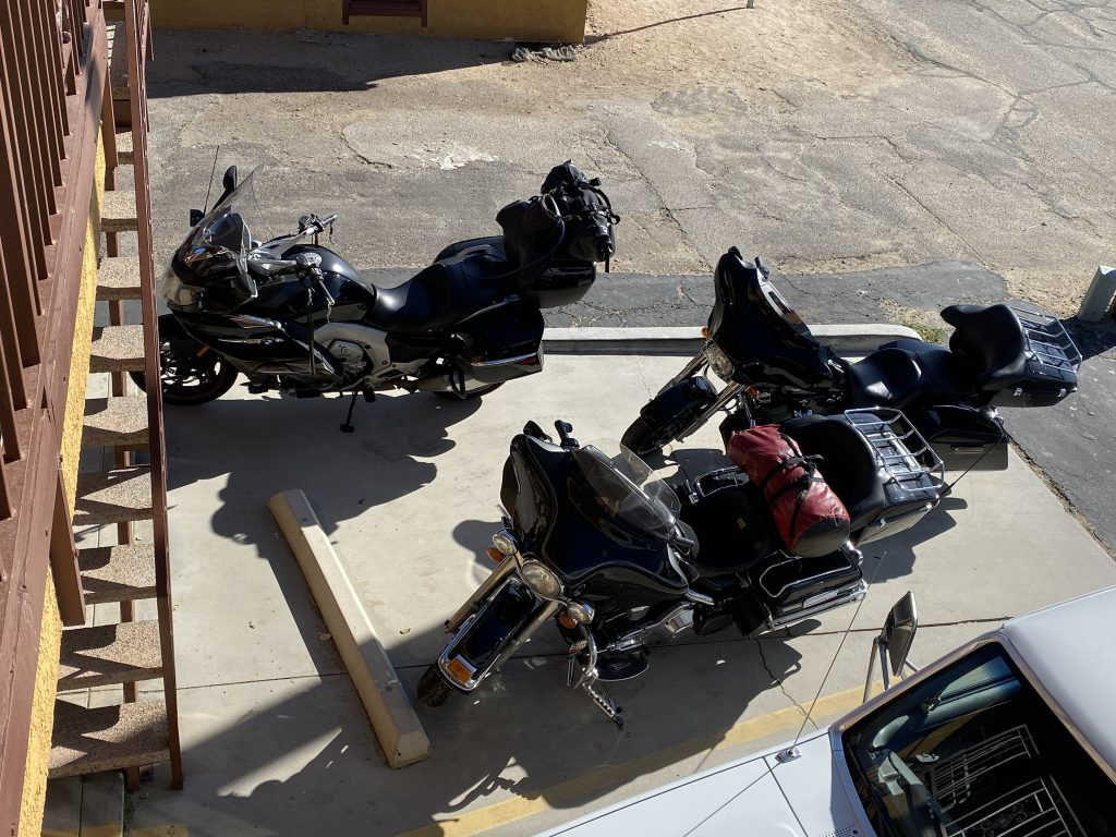 The bikes wait to ride at the hotel in Lone Pine, CA.