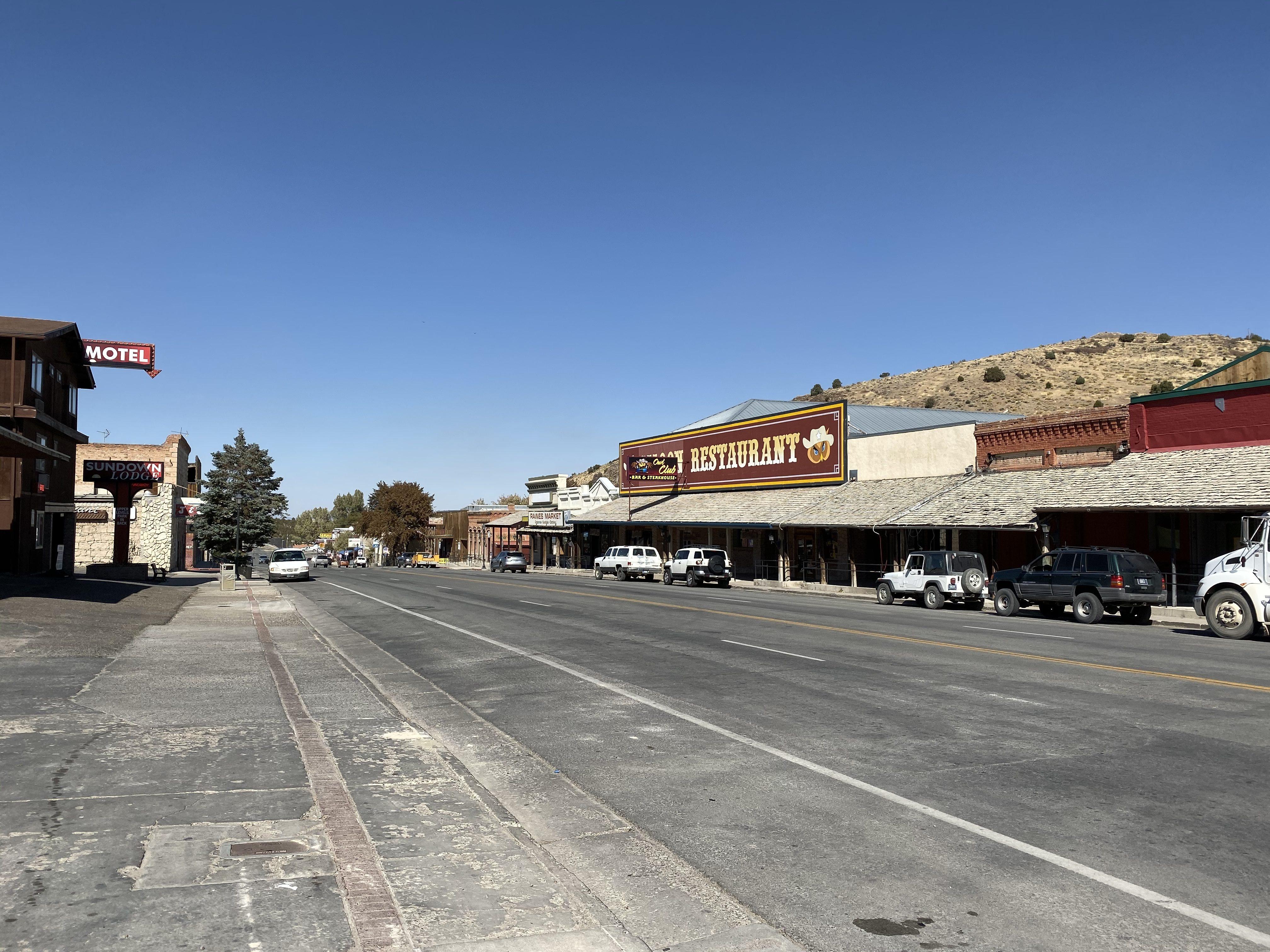 Downtown Eureka, Nevada, looking west.