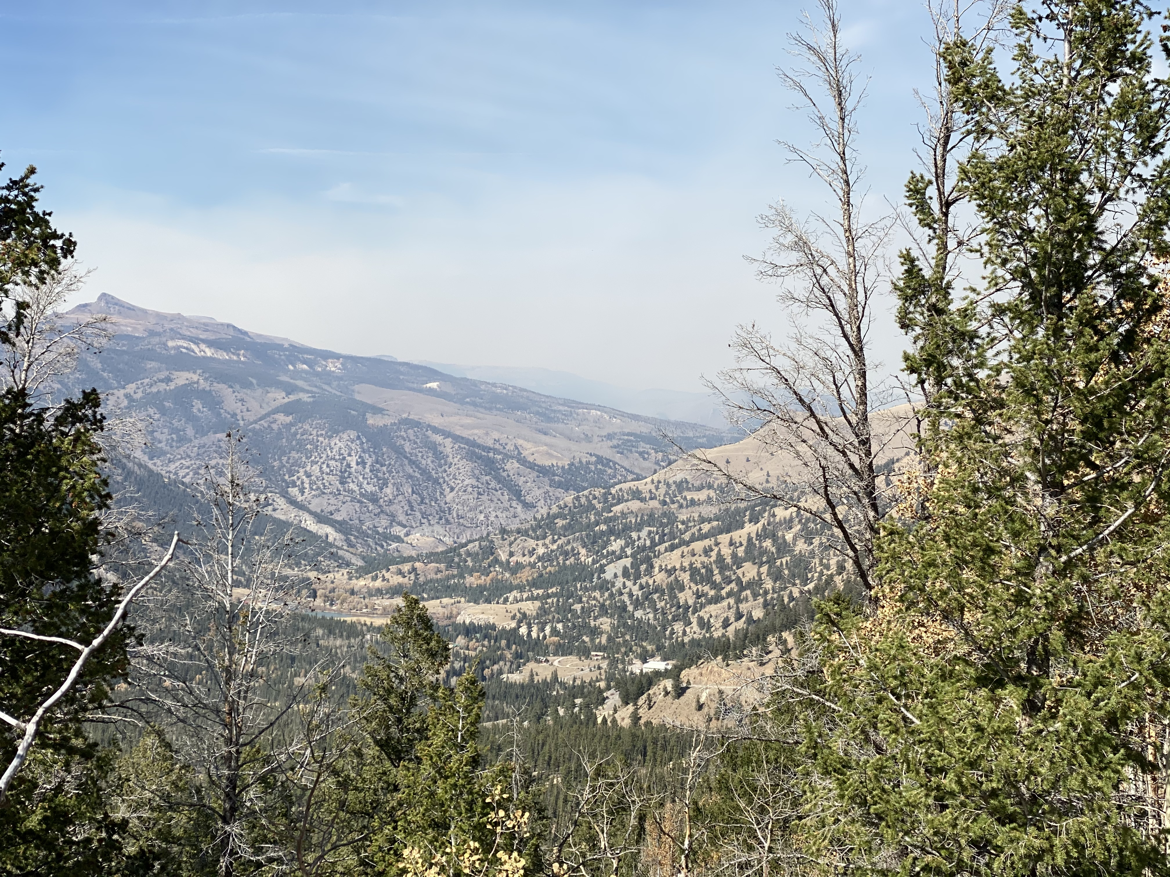 Wildfire smoke as seen from the Lake San Cristobal overlook on CO149.
