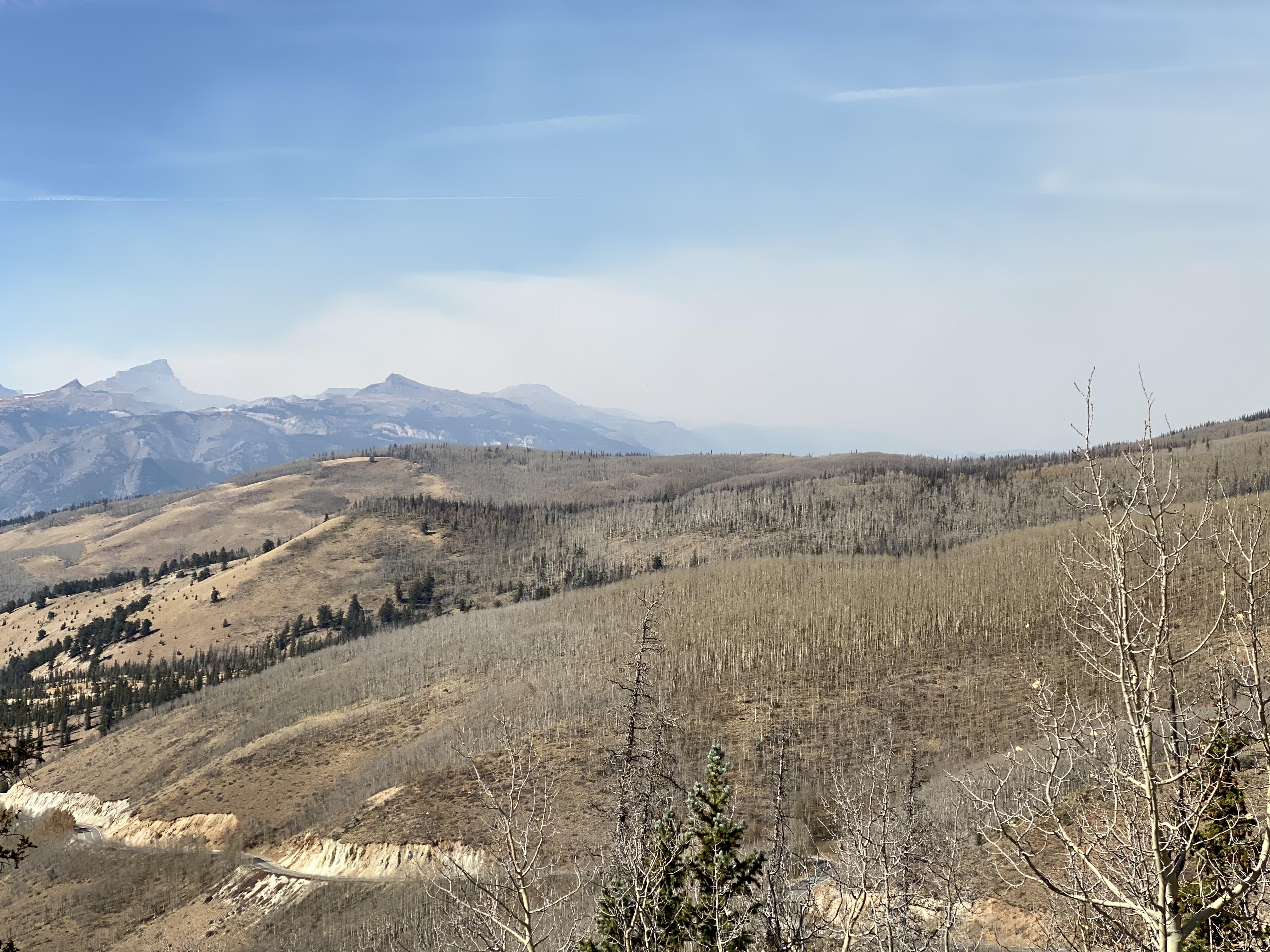 Wildfire smoke as seen from the Windy Point overlook near Slumgullion Pass.