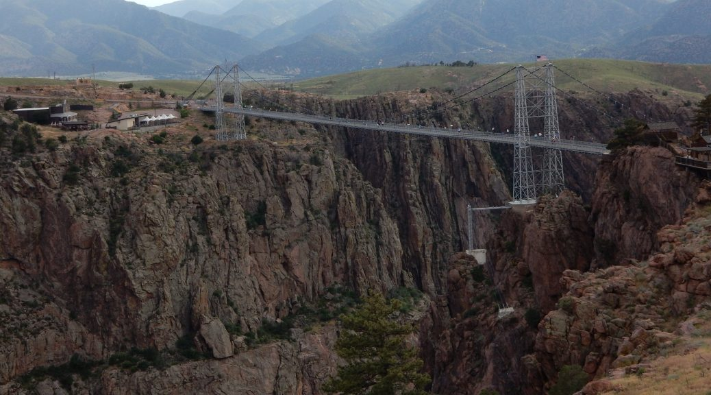 A look at the Royal Gorge bridge from the overlook.