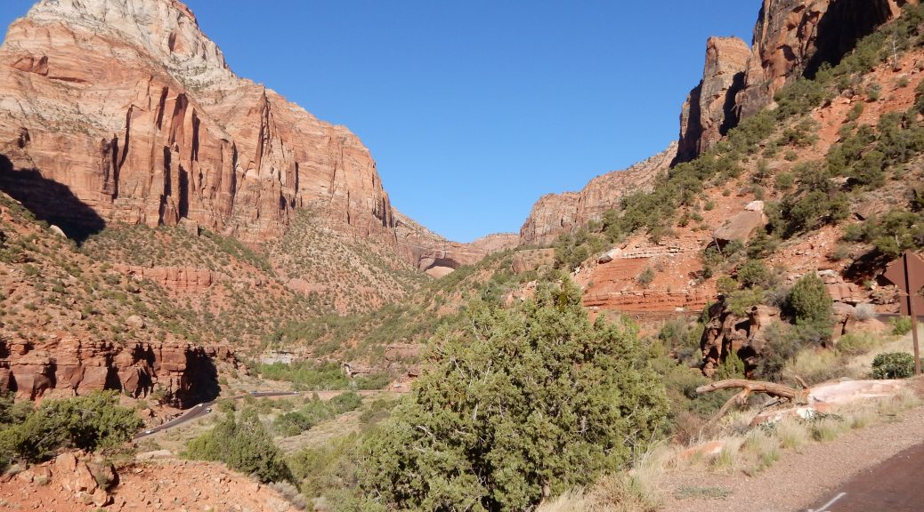US89 climbs the canyon in Zion National Park.