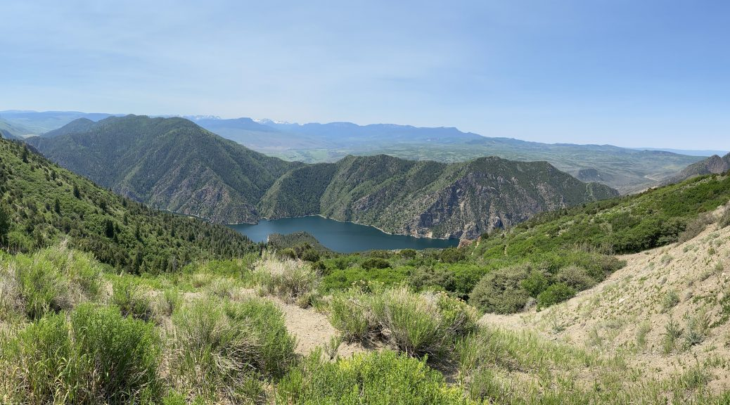 A panoramic photo of the Black Canyon of the Gunnison.