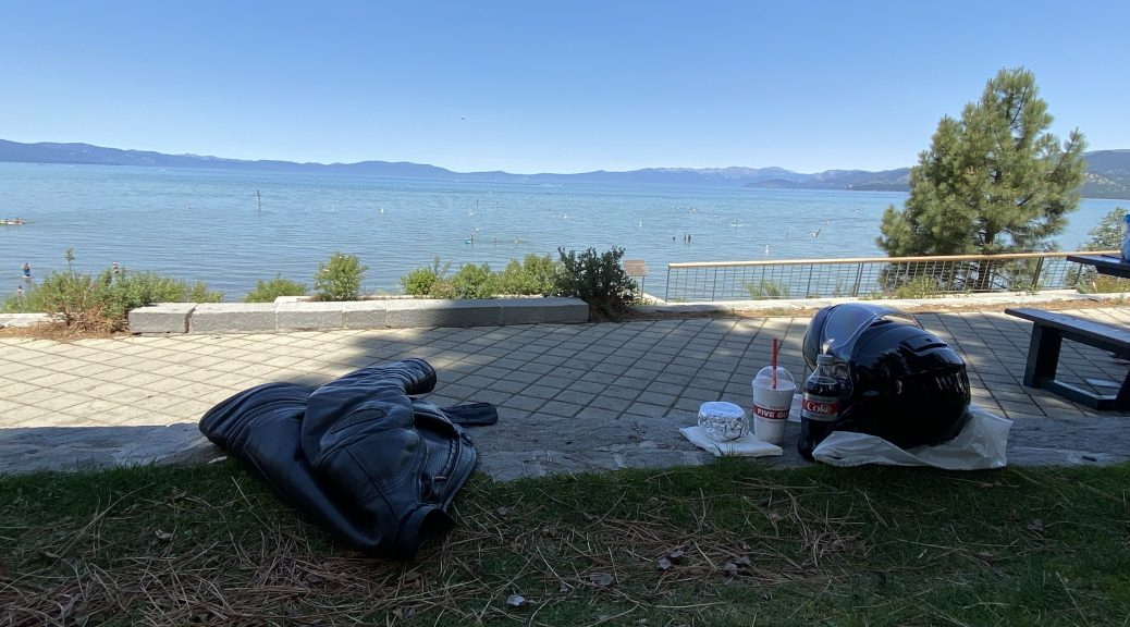 Armed with my burger, soda, and shake, I'm ready to enjoy a lunch by Lake Tahoe.