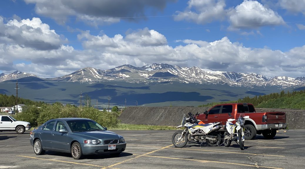The view of the mountains from my hotel's parking lot in Leadville, Colorado.