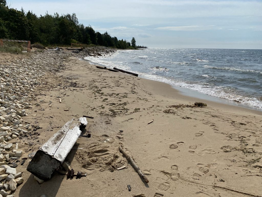 Some fairly burly pieces of driftwood litter the beach near Manistique.