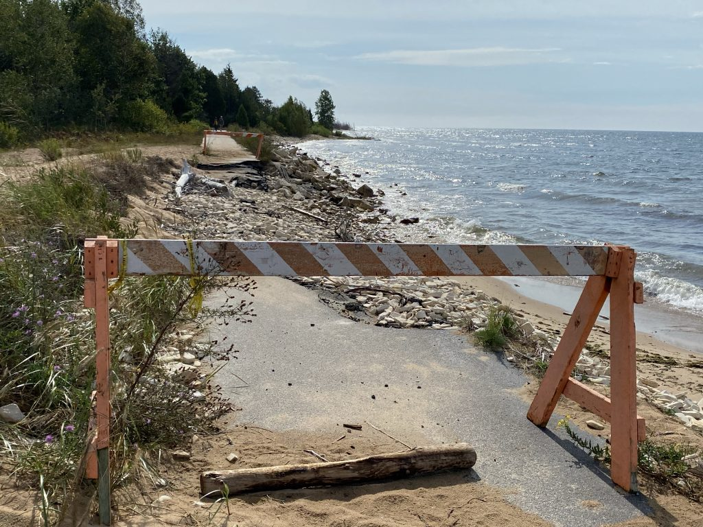 The higher lake levels have done some damage to the boardwalk trail near Manistique.