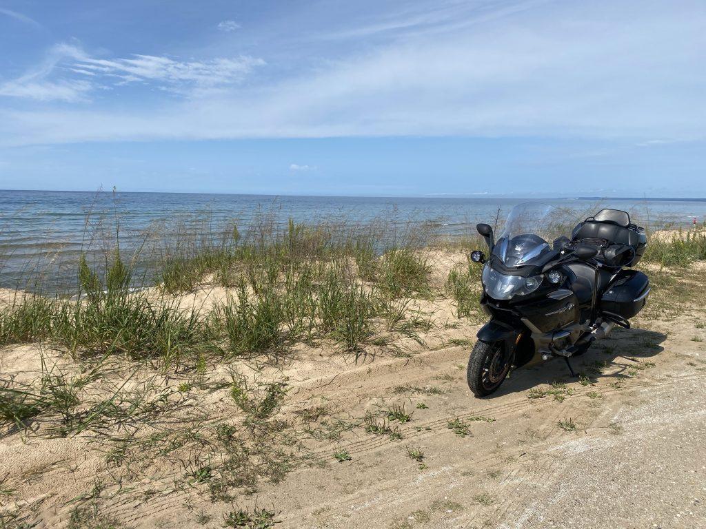 The Nightowl looks east along the Lake Michigan coast on US2 west of St. Ignace.